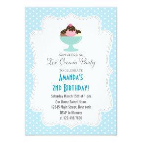 Ice Cream Birthday Party Invitations (Blue)