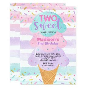 Ice Cream Invitation Two Sweet 2nd Birthday