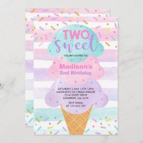 Ice Cream Invitation Two Sweet 2nd Birthday