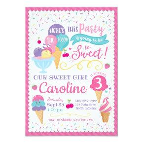 Ice Cream Party Birthday Invitation, Scoop Invitation