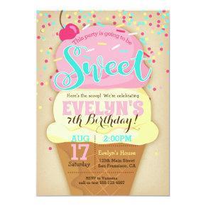 Ice Cream Party Invitations - Girl Birthday Invite