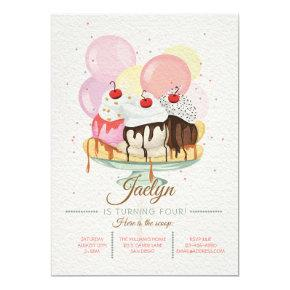 Ice Cream Sundae Birthday Party Invitation