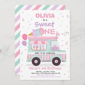 Ice Cream Sweet One Birthday Ice Cream Truck Invitation
