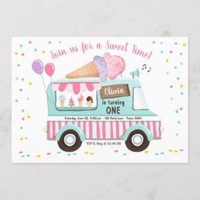 Ice Cream Truck Birthday Invitation Girl Pink