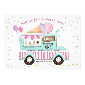 Ice Cream Truck Birthday Invitation Girl Pink