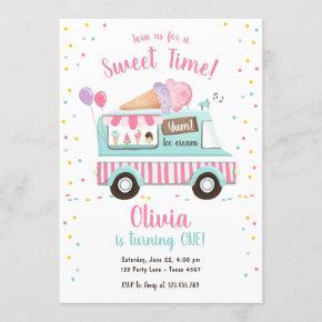 Ice Cream Truck Sweet Time Pink Girl Birthday Invitation