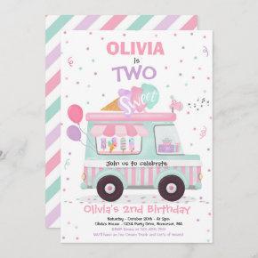 Ice Cream Two Sweet 2nd Birthday Ice Cream Truck Invitation