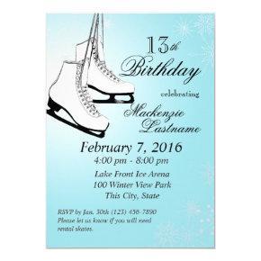 Ice Skates and Snowflakes Birthday Invitations