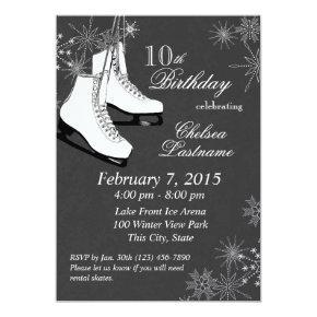 Ice Skates and Snowflakes Birthday Invitation