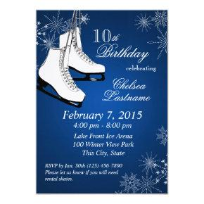 Ice Skates and Snowflakes Blue Birthday Card