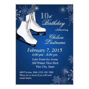 Ice Skates and Snowflakes Blue Birthday Invitation