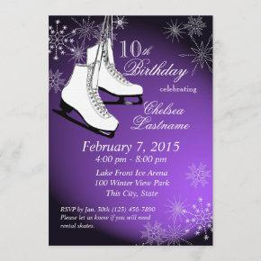Ice Skates and Snowflakes Purple Birthday Invitation