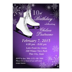 Ice Skates and Snowflakes Purple Birthday Invitation