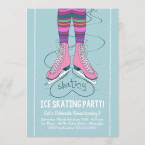 Ice Skating Birthday Invitation - I Heart Skating