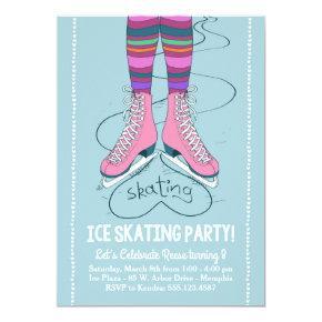 Ice Skating Birthday Invitation - I Heart Skating