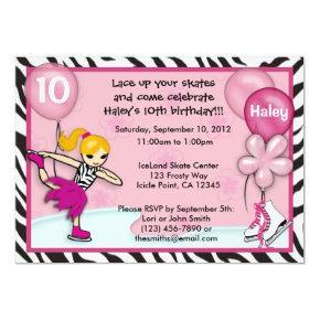 Ice Skating Birthday Invitations zebra print pink