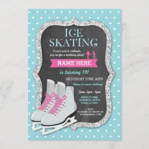 Ice Skating Birthday Party Chalk Skate Invite