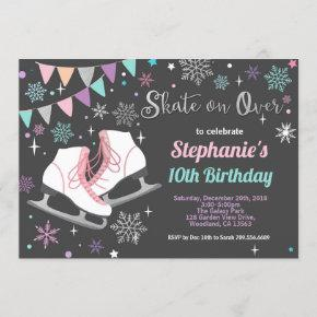 Ice skating birthday party pastel chalkboard invitation