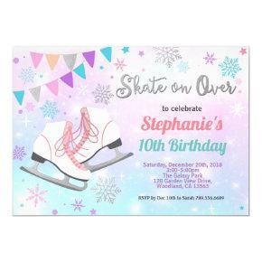 Ice skating birthday party pastel rainbow skate invitation