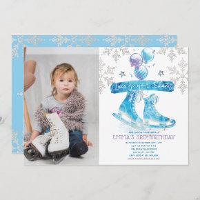 Ice Skating Birthday Party Photo Invitation