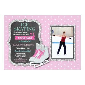 Ice Skating Birthday Party Pink Photo Skate Invite