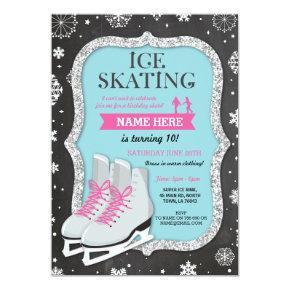 Ice Skating Birthday Party Snowflake Chalk Invite