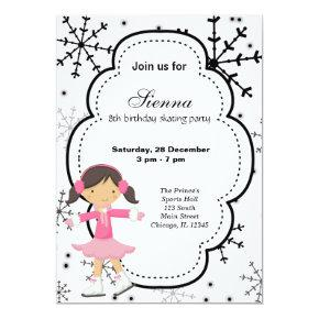 Ice Skating Birthday (White) Invitation