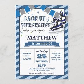 Ice Skating Boy Birthday Party Invitation