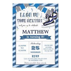 Ice Skating Boy Birthday Party Invitation