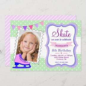 Ice Skating Girls Photo Birthday Party Invitation
