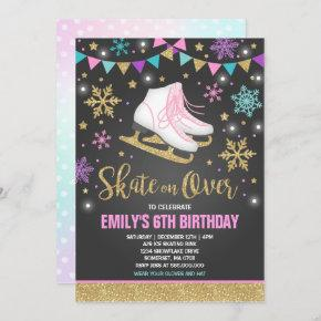 Ice skating Invitation Ice Skating Party Gold
