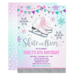 Ice skating Invitation Ice Skating Party Silver