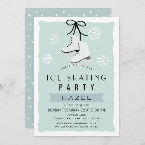 Ice Skating Party Winter Blue Retro Birthday Invitation