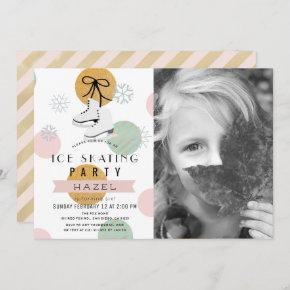 Ice Skating Party Winter Pink Girl Photo Birthday Invitation