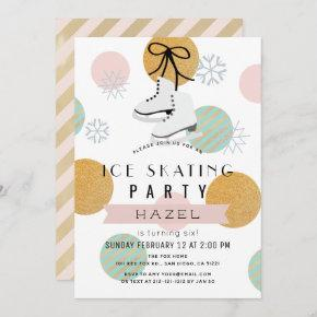 Ice Skating Party Winter Pink Gold Girl Birthday Invitation