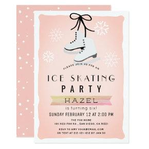 Ice Skating Party Winter Pink Retro Birthday Invitations