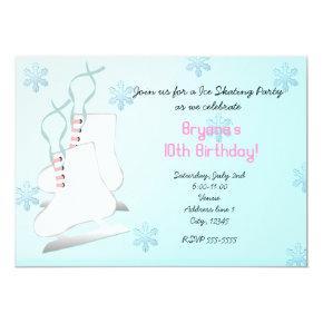 Ice Skating Skate Birthday Party Invitations