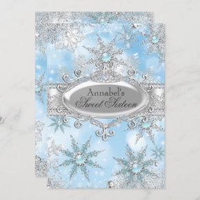Icy Blue Princess Winter Wonderland Sweet 16 Invitation