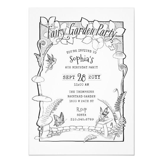 Illustrated Enchanted Fairy Garden Party Coloring