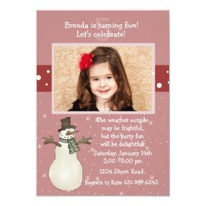 In a Flurry - Photo Birthday Party Invitation