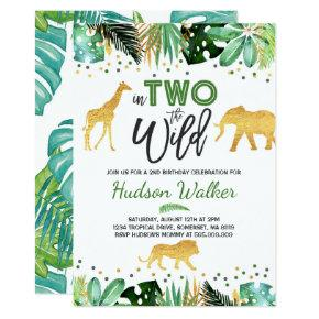 In Two The Wild Birthday Invitation Jungle Animals