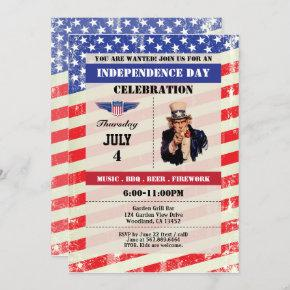 Independence Day celebration invite. 4th of July Invitation