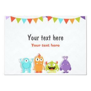 Insert card Little Monster Table sign Birthday