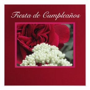 Invitación - Fiesta de Cumpleaños - Rosa roja Invitation