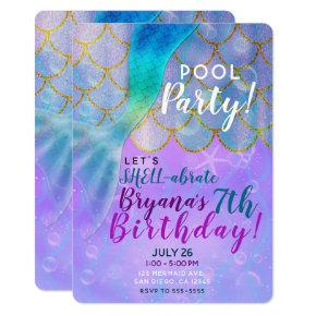 Iridescent Pearl Shimmer Mermaid Birthday Party Invitation