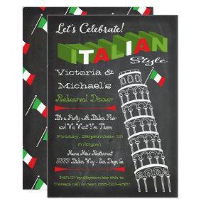 Italian Tower of Pisa Rehearsal Dinner Birthday Invitation