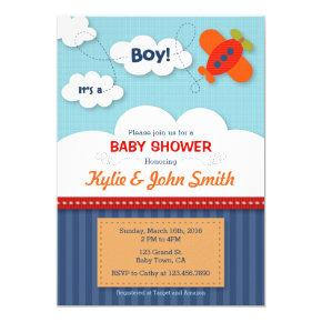 It's a Boy Airplane Baby Shower Invitations