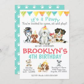 It's a Pawty Puppy Party Birthday Invitation