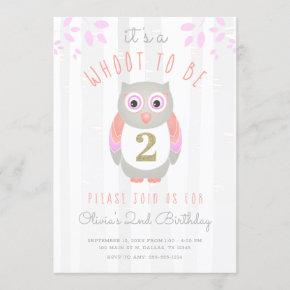 It's a Whoot to be Two Woodland Owl 2nd Birthday Invitation