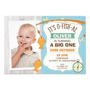 It's O Fish Al Photo 1st Birthday Invitation
